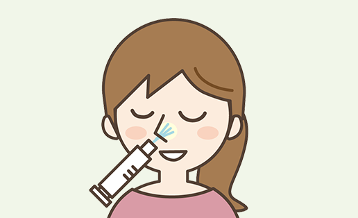 イラスト:鼻腔に麻酔薬を注入、局所麻酔を行います